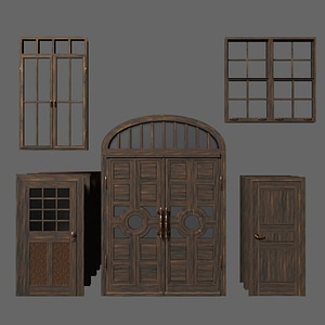 Set of Old Doors and Windows 3D Model
