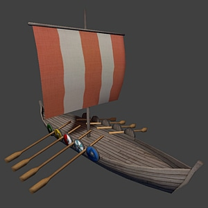 Low Poly Viking Ship 3D Model