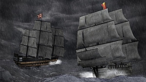Tall Ship Battle 3D Model