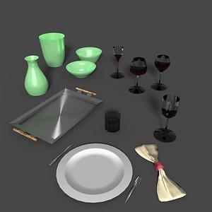 Set of Tableware 3D Model