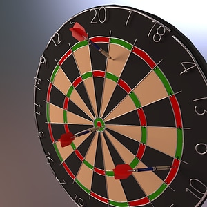 Dart Board with Darts 3D Model