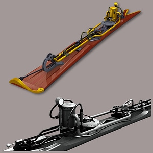 Steampunk Alpine Ski 3D Model