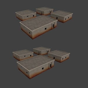 Minimalist Suburb Houses Low Poly 3D Model