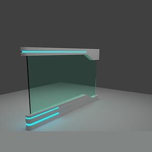 Futuristic Glass Wall 3D Model