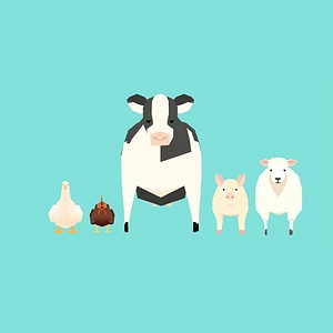 Low Poly Farm Animals 3D модель