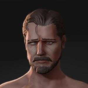 Sad Mustached Man 3D Model