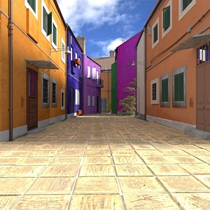 Venice Street Scene 3D Model