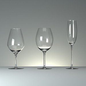 Three Wineglasses with Curves 3D-Modell