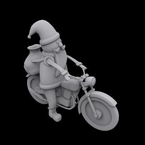 Santa Motorcycle 3D Model
