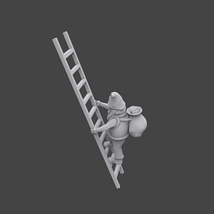 Santa on Ladder 3D Model
