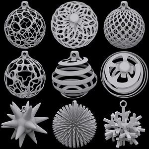 Set of Christmas Globes 3D Model