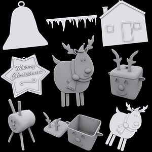 Set of Christmas Ornaments 3D Model