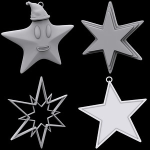 Set of Christmas Stars 3D Model