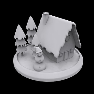 Winter House 3D-Modell
