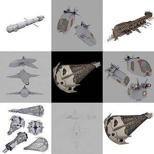 Exploration Spaceships 3D Model