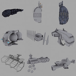Industrial Spaceships 3D Model