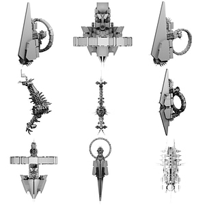 Set of Spaceships 3D Model