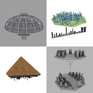 Space Cities 3D Model
