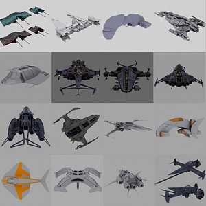 Space Fighters 3D Model