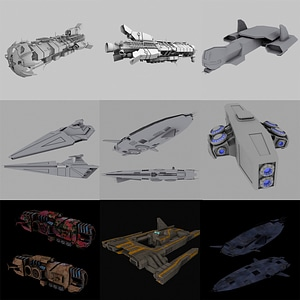 Space Frigate Set 3D Model