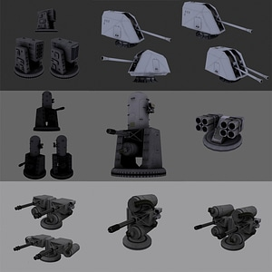 Turret Guns Pack 3D Model