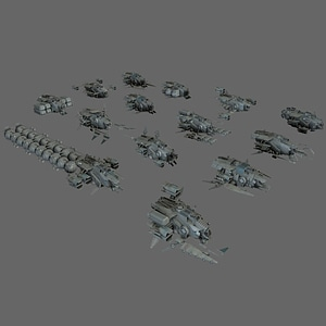 Space Ship Pack 3D Model