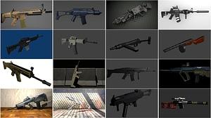 Set of Assault Rifles 3D Model