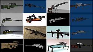 Set of Sniper Rifles 3D Model
