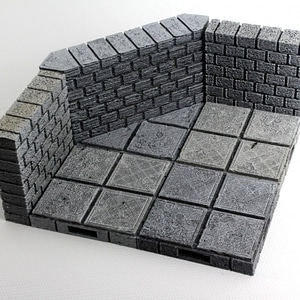 OpenForge Cut-Stone OpenLOCK Angled Walls 3D Model