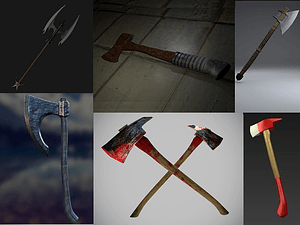 Set of Axes and Hatchets 3D Model