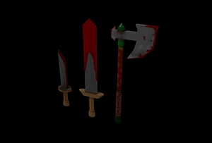 Low Poly Axe, Sword and Knife 3D-malli