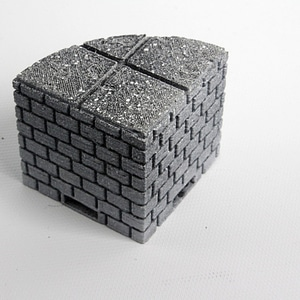 OpenForge Cut-Stone OpenLOCK Curved Full Height Risers 3D Model