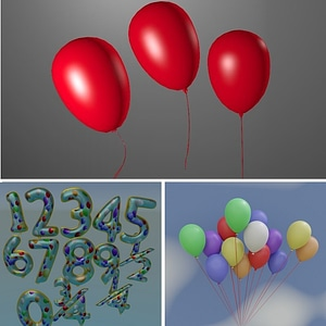 Set of Balloons and Numbers 3D Model