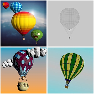 Set of Hot Air Balloons 3D Model