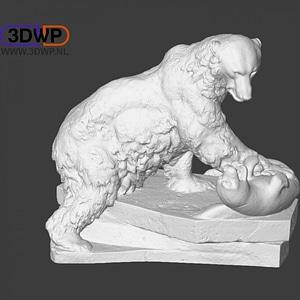 Polar Bear Sculpture 3D Model