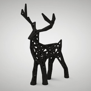 Wire-frame Holiday Deer 3D Model