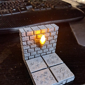 OpenForge Cut-Stone OpenLOCK Torch Wall 3D Model