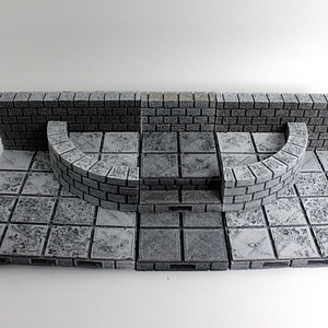 OpenForge Cut-Stone OpenLOCK Curved Half Height Walls 3D Model