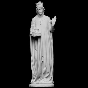 Empress Cunigunde of Luxembourg with church model 3D Model