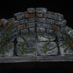 Curved Ruined Wall Tile 3D Model
