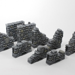 Ruined Columns & Side Locking Walls 3D Model