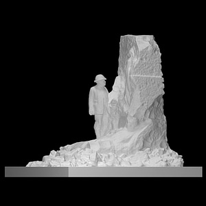 A Statue and Monument of Theodoor Verstraete 3D Model