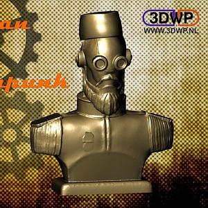 Ottoman Steampunk Robot Bust 3D Model