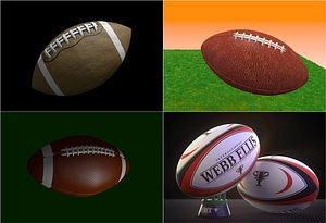 American Football and Rugby Balls 3D Model