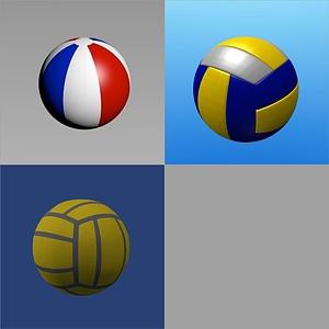 Volleyball and Beach Balls 3D Model