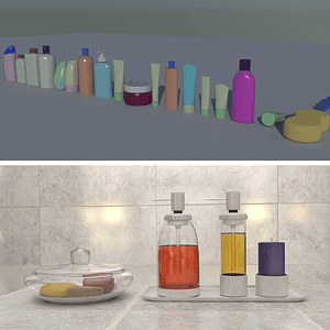 Set of Tubes and Bottles 3D Model