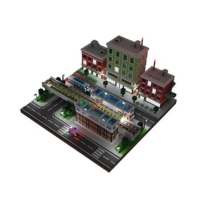 Voxel City Animation 3D Model