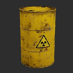 Yellow Barrel of Toxic Waste 3D Model