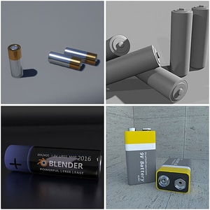Set of Batteries 3D Model