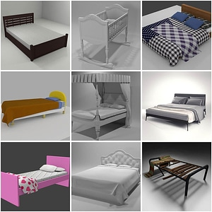 Set of Beds 3D Model